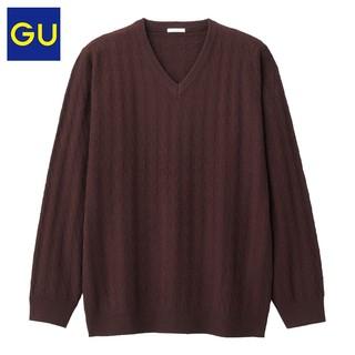 GU 极优 GU317412000 男装V领针织衫