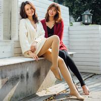 韩国LET'S Diet 女袜系列保暖踩脚护腰加绒显瘦打底袜女 黑色肤色 均码