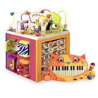 B Toys 繞珠百寶箱串珠玩具寶寶智力四面體大嘴貓琴組