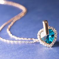AITEKA 爱缇卡 浪漫之心 蓝色 项链