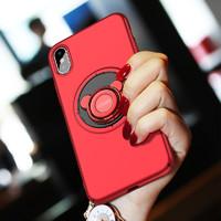 iphone X手机壳苹果x新款全包防摔保护套iPhonex四角包边磨砂硬壳个性潮牌男女情侣款红色带指环扣立式保护壳