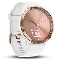 佳明(GARMIN) Vivomove HR 迪丽热巴同款 运动心率智能通知指针式触摸屏智能手表 玫瑰金白色表带 小/中号