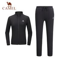骆驼 运动套装男女长袖休闲两件套开衫卫衣卫裤跑步情侣运动服 C8W1U7613 女款黑色 S *2件