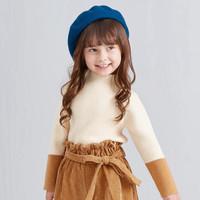 Deesha 笛莎 儿童条纹半高领毛衣 米咖色 110cm