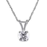 银联专享:AMOUR 1/4克拉 TW 14K白金钻石项链