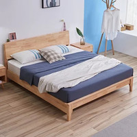 A家家具 简约现代日式实木大床 1.2米