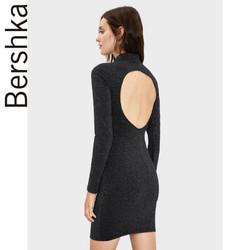 Bershka女士 2019秋新款金属色纱线修身连衣裙小黑裙 05555326800