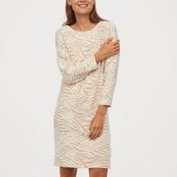 H&M 0823427 一字领针织连衣裙