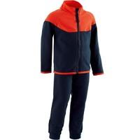 迪卡侬 儿童男孩女孩卫衣运动服 体能运动套装500系列 - 灰色/粉色