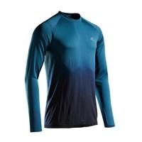 迪卡侬:KIPRUN男式亲肤跑步长袖T恤 - 蓝色/黑色