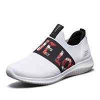 斯凯奇女鞋子 舒适透气一脚套休闲鞋 创意英文魅力秀气运动鞋女