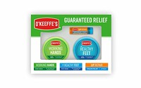 O'Keeffe's Giftbox 包括冷却缓解唇部修复棒、工作手罐和*脚罐
