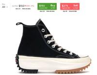 Converse X JW Anderson Run Star Hike Hi 联名黑色厚底帆布鞋