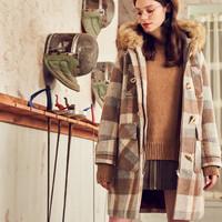 中长款毛呢外套女士冬季中长款韩版2019新款秋冬学生格子流行大衣