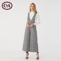 C&A复古格子背带裤女士秋冬新款无袖连体裤CA200219305