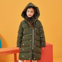 moomoo童装女童羽绒服中长款新款冬装绣花洋气中大儿童外套 *2件