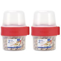 乐扣乐扣双层塑料保鲜盒水果酸奶密封罐宝宝辅食分隔套装LLS211S2