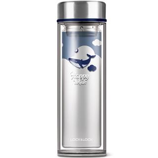 LOCK&LOCK 乐扣乐扣 海洋双层耐热玻璃水杯过滤茶网卡通学生 320ml LLG627