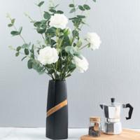 Hoatai Ceramic 华达泰 现代简约黑色大号花瓶  (含1束尤加利+2束白牡丹)