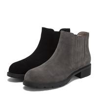 Teenmix 天美意 商场同款牛剖层方跟切尔西靴女短靴AS381DD8