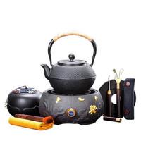唐丰 手工铸铁壶 荷花金电陶炉(大)+小丁铁壶套装