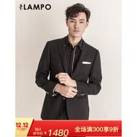 LAMPO/蓝豹 全羊毛修身套西上衣 黑色素面 52C