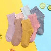 女士中筒纯色袜子 7双装