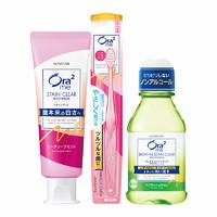 日本进口ora2皓乐齿亮白鲜桃牙膏顶端超细毛软毛牙刷漱口水套装
