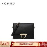 红谷(HONGU)女包包牛皮单肩包女包包时尚简约牛皮斜挎包小方包 H5152105漆黑 *2件