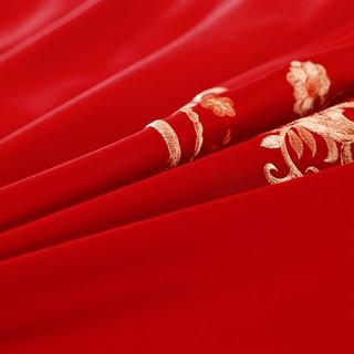 J.H.Longess 贡缎刺绣60支长绒棉全棉绣花婚庆四件套古典中式大红纯棉刺绣四件套