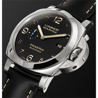 PANERAI 沛纳海 LUMINOR庐米诺系列 PAM01359 男士自动机械手表 44mm 黑盘 黑色真皮表带 圆形