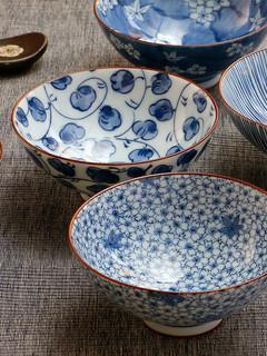 Mino Yaki 美浓烧 陶瓷碗家用日式和风餐具饭碗面碗青花瓷碗套装礼品