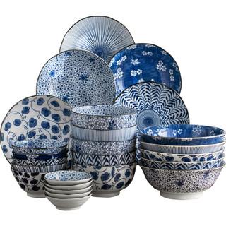 Mino Yaki 美浓烧 釉下彩陶瓷经典蓝染家用个性碗盘碟组合餐具套装