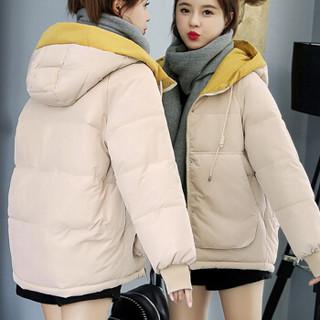 米兰茵(MILANYIN)女装 2019冬装新款棉服女短款加厚上衣拼色连帽学生棉衣网红外套 NYml821 米白色 L