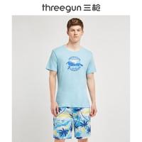 三枪 男式家居服 舒肤纯棉圆领短袖短裤男家居套T恤沙滩裤 蓝椰树 XL(175)