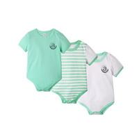 Augelute 夏季宝宝纯棉短袖包屁衣爬服3件装0-3岁 *7件