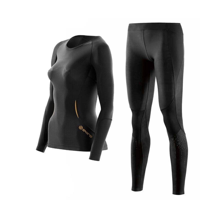 SKINS 思金斯 A400 ZB99330 女士跑步训练健身服 黑色星光反光 套装 M