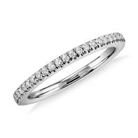 银联爆品日:Blue Nile 密钉钻石结婚戒指14k 白金(1/6 克拉总重量)