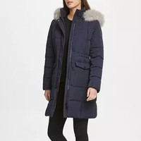 DKNY aux-Fur-Trim 连帽棉服