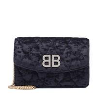 BALENCIAGA BB Wallet On Chain 女士天鹅绒单肩包