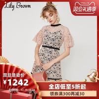 Lily Brown2019秋冬新品 复古甜美镂空刺绣短袖连衣裙LWFO194025 *2件