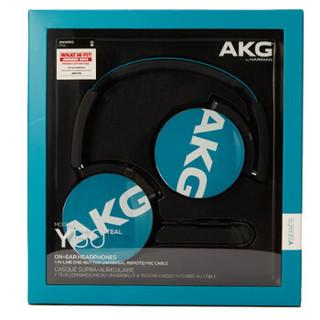 AKG 爱科技 Y50 便携头戴式耳机 重低音 线控耳麦 立体声耳机 HIFI音乐耳机 手机通用 蓝色