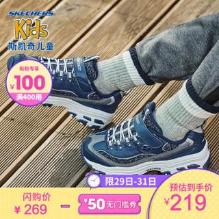 Skechers斯凯奇童鞋 2019秋冬闲熊猫鞋664094L 海军蓝色/NVY 32码/鞋内长20cm