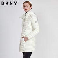 DKNY 唐可娜儿羽绒服女士冬季新品中长款外套双层拉链收腰简约保暖连帽显瘦DL822299 *3件