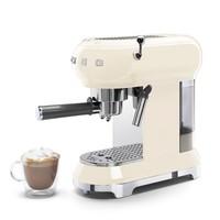 Smeg 斯麦格 意大利进口 复古意式半自动咖啡机泵压式家用 蒸汽打奶泡Espresso ECF01 奶油白