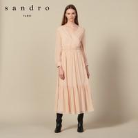 sandro SFPRO00611 女士V领收腰连衣裙