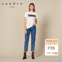 sandro SFPTS00307  女装酷炫字母标语针织T恤衫