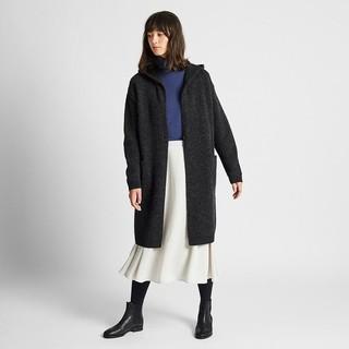 历史低价 : UNIQLO 优衣库 420515 女士羊毛混纺连帽针织大衣