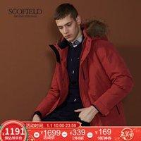 SCOFIELD 冬季新款男士休闲时尚保暖羽绒服SMJD84V015 红色 170