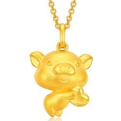 CHOW TAI FOOK 周大福 十二生肖猪 爱心小猪 R21604 黄金吊坠